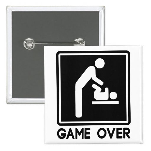 Game Over New Baby for Parent Dad Button