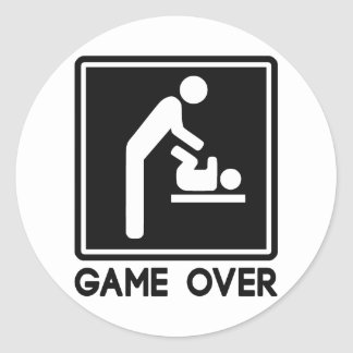 Game Over New Baby for Parent Dad Classic Round Sticker