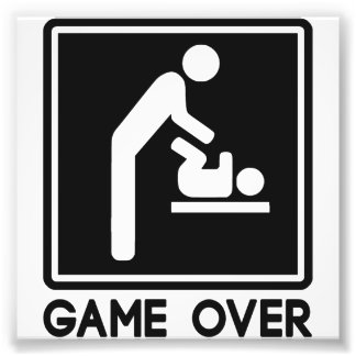 Game Over New Baby for Parent Dad Photo Print