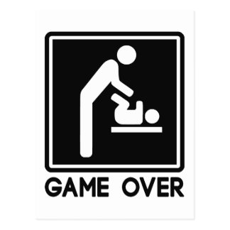 Game Over New Baby for Parent Dad Postcard