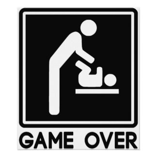 Game Over New Baby for Parent Dad Poster
