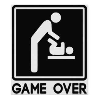 Game Over New Baby for Parent Dad Posters