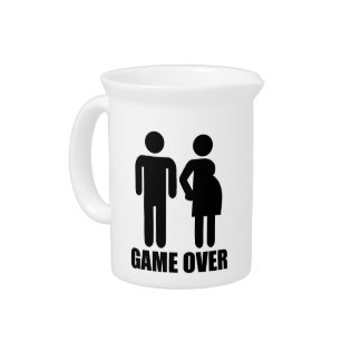 Game over Pregnancy Beverage Pitchers