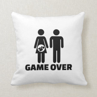 Game over pregnant baby throw pillow