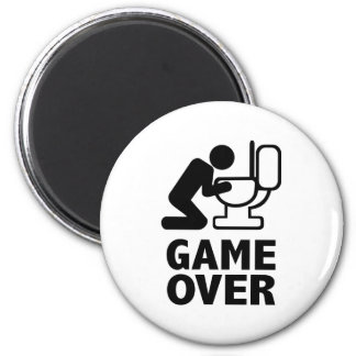Game over puke toilet 2 inch round magnet