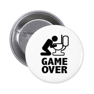 Game over puke toilet pinback button