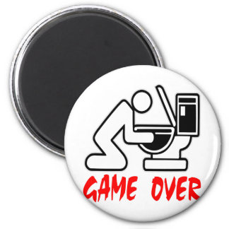 Game Over Puking 2 Inch Round Magnet