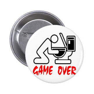Game Over Puking Pinback Button