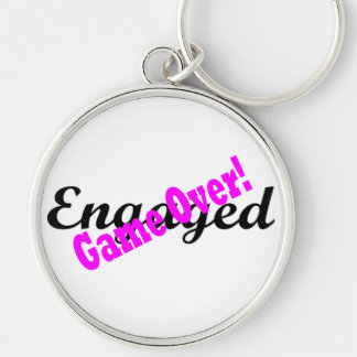 Game Over Silver-Colored Round Keychain