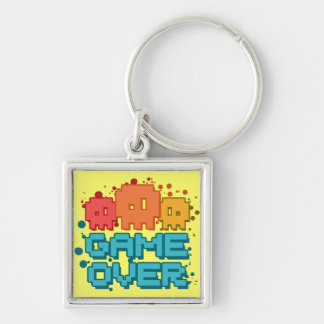 Game Over Silver-Colored Square Keychain