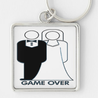 Game Over Wedding Marriage Couple Silver-Colored Square Keychain