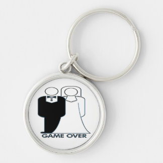 Game Over Wedding Marriage Couple Silver-Colored Round Keychain