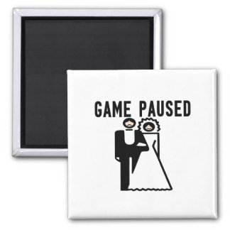 Game Paused Bride & Groom 2 Inch Square Magnet