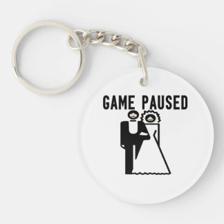 Game Paused Bride & Groom Double-Sided Round Acrylic Keychain