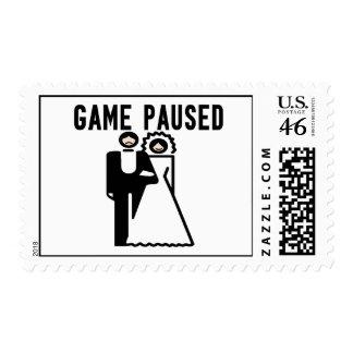 Game Paused Bride Groom Postage