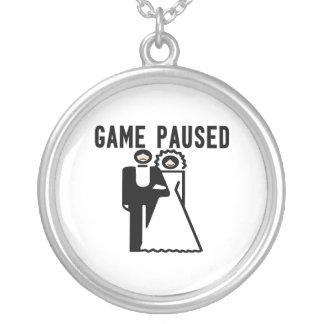 Game Paused Bride & Groom Silver Plated Necklace
