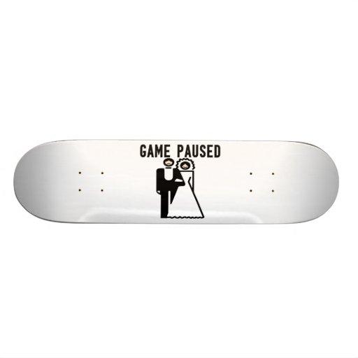 Game Paused Bride & Groom Skateboard