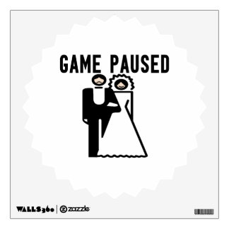 Game Paused Bride & Groom Wall Sticker