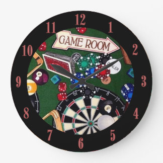 Game Room Darts Billiards Cards Wall Clock