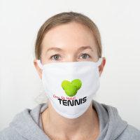 Game, Set, Match! Tennis White Cotton Face Mask