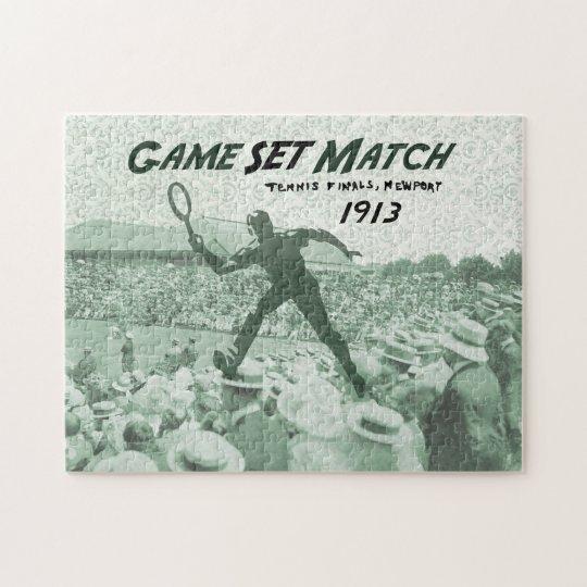 Game Set Match: Vintage Tennis poster Jigsaw Puzzle