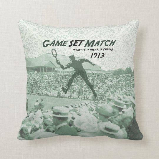 Game Set Match: Vintage Tennis poster Throw Pillow