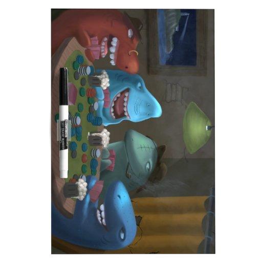 Game Sharks Playing Poker Dry-Erase Whiteboards