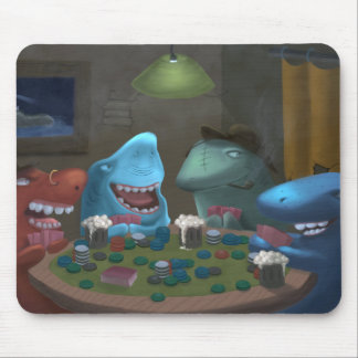Game Sharks Playing Poker Mouse Pad