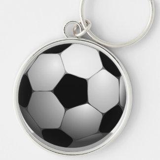 Game Team Coach Sports Ball Fun Soccer Ball Play Silver-Colored Round Keychain