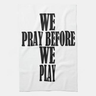 GAME TOWEL! We Pray Before We Play Hand Towel