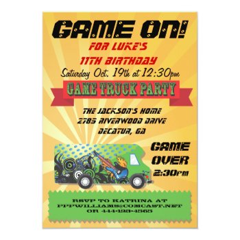 Game Truck Party Invitations by McBooboo at Zazzle
