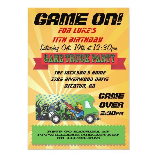 Game Truck Party Invitations Zazzle Com