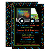 Game Truck, Video Game Birthday Party Invitation
