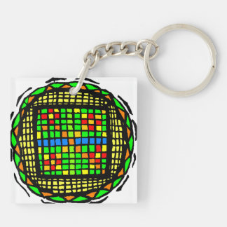 gameboard circle design with green and white Double-Sided square acrylic keychain