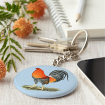 Gamecock Blue Red Rooster Keychain