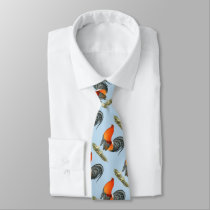 Gamecock Blue Red Rooster Neck Tie