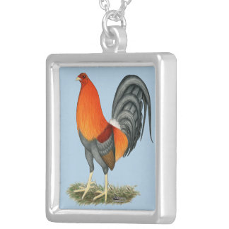 Gamecock Blue Red Rooster Silver Plated Necklace
