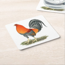 Gamecock Blue Red Rooster Square Paper Coaster