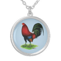 Gamecock:  Dark Red Silver Plated Necklace