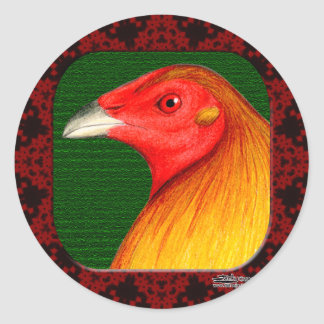 Gamecock Framed Classic Round Sticker