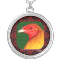 Gamecock Framed Silver Plated Necklace