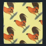 """Gamecock Ginger Red Rooster Bandana<br><div class=""""desc"""">Ginger red gamecock rooster color has a fiery orange red tone,  contrasting with black in tail and wings.  Commissioned by Kenny Troiano for his book on game fowl colors.</div>"""