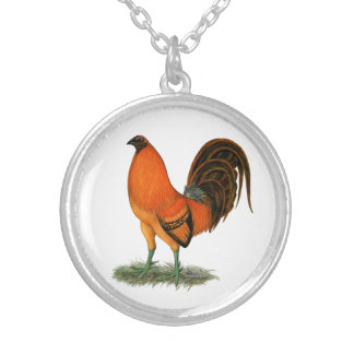 Gamecock Ginger Red Rooster Silver Plated Necklace