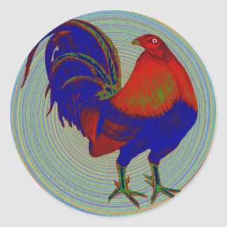 Gamecock:  Impressionist Rooster Classic Round Sticker