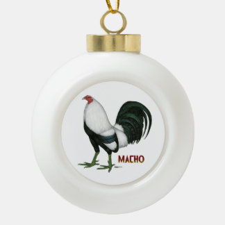 Gamecock Macho Duckwing Ceramic Ball Christmas Ornament