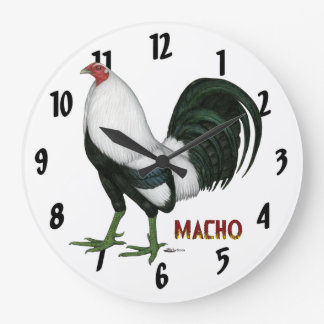 Gamecock Macho Duckwing Large Clock