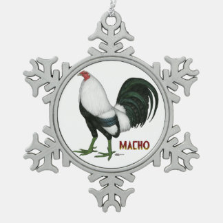 Gamecock Macho Duckwing Snowflake Pewter Christmas Ornament