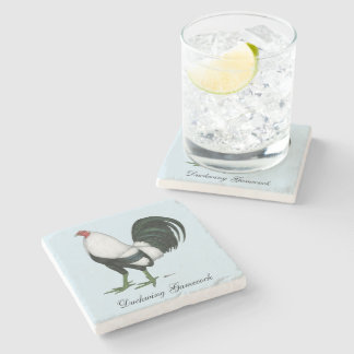 Gamecock Silver Duckwing Stone Coaster