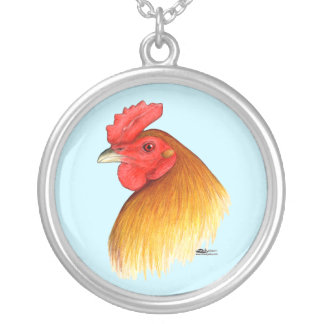 Gamecock Stag Pea Comb Round Pendant Necklace