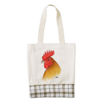 Gamecock Stag Single Comb Zazzle HEART Tote Bag